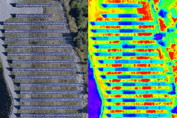 panneaux solaires en vision thermique