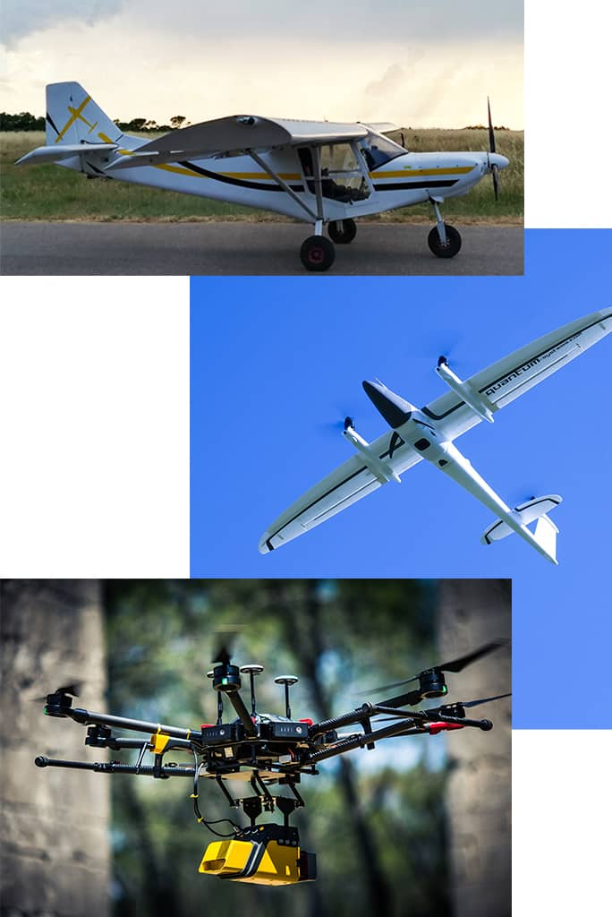 avion ULM, drone a voilure fixe et drone multirotor